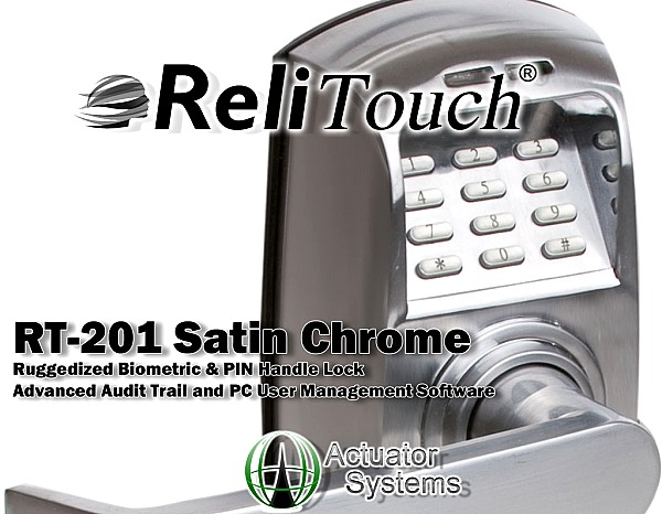 ReliTouch RT-201 Satin Chrome biometric handle lock